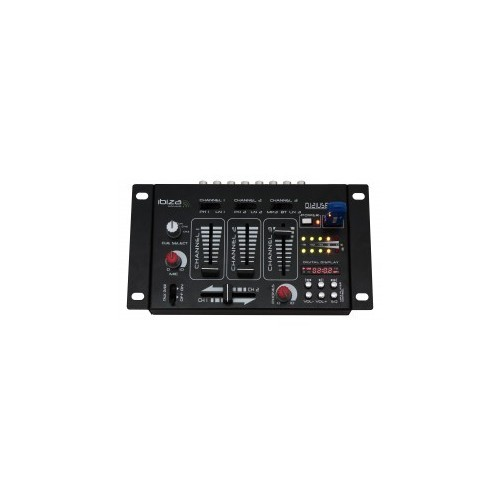 7-Input    4-Channel mixer with digital display.