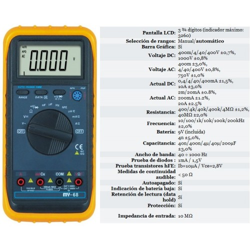 MY68 Handheld LCD Auto/manual Range DMM Digital Multimeter