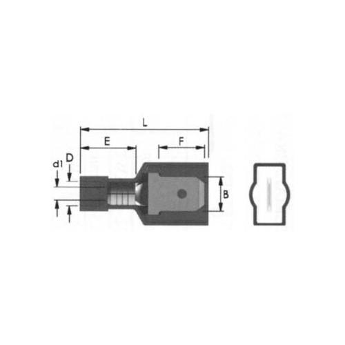 COATED SLIDE CABLE LUG NYLON (Χ/Α) MALE BLUE M2-6.4AF/8 JEE