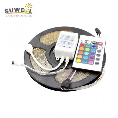 5 Meter RGB 3528 Waterproof 300 LED Flexible Strip With 24 Key IR Remote Controller