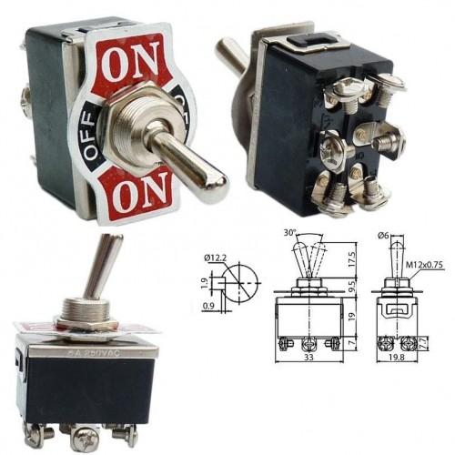Превключвател KN3C-203 6A 230V ON-OFF-ON