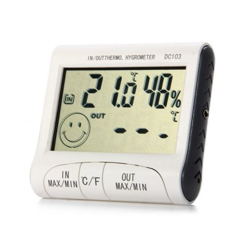 DIGITAL THERMOMETER-HUMIDITY MONITOR WITH SENSOR +CLOCK DC10..