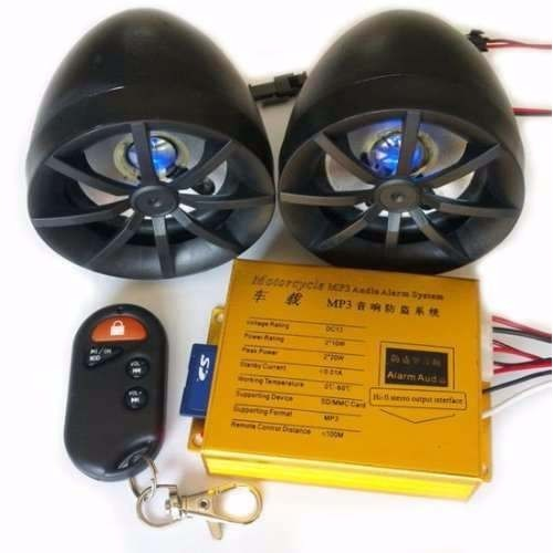 Motorcycle MP3 Player Speakers Audio Sound System FM Radio Security Alarm