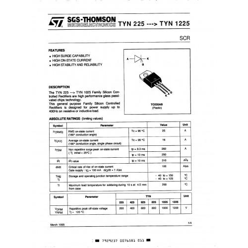 TYN1225 THYRISTOR TRIAC - THYRISTOR