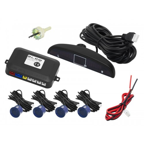 LED Display Car Parking Sensor Radar System Alarm Audio Reversing 4 Set Blue