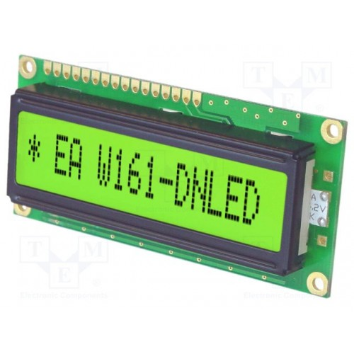 DISPLAY LCD MINI CHARACTER 2X16 ΜΕ ΦΩΤΙΣΜΟ ΠΡΑΣΙΝΟ