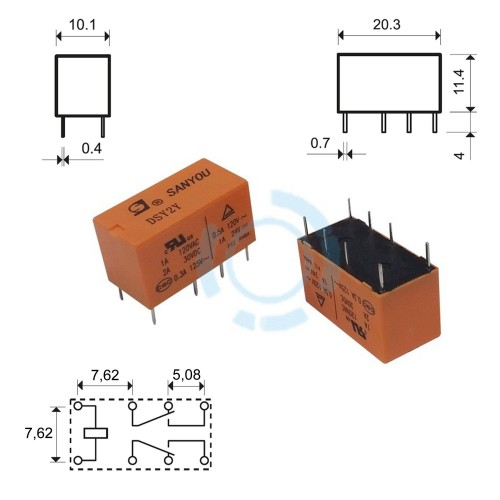 RELAY SUBMINIATURE 2P 12V DC 1A DSY2Y G/SAN