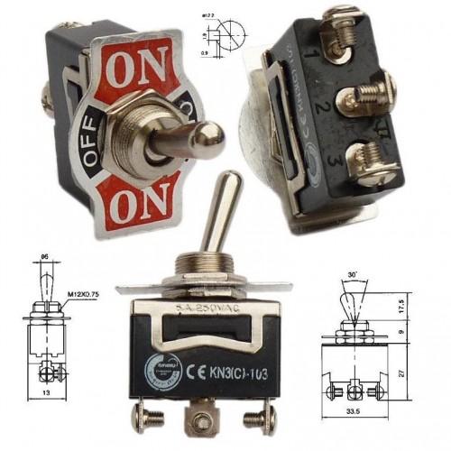Превключвател KN3C-103 6A 230V ON-OFF-ON