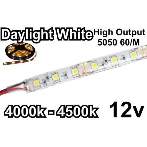 DC12V LED strip 5050 flexible light 60led/m,5m/lot Neutral White 4000K