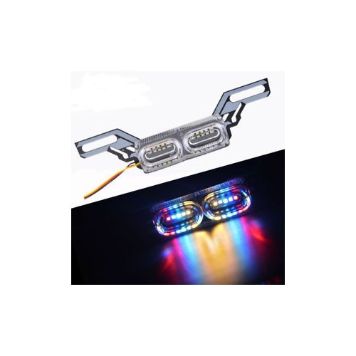 10 LED Colorful License Plate Warning Tail Light Brake Stop Dirt Bike Motorcycle