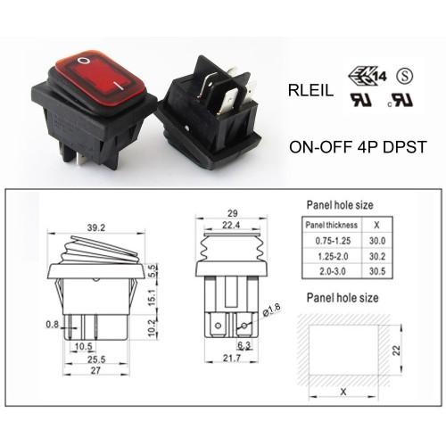 ROCKER SWITCH 4P ON-OFF RL2(P)-21 16A/250V RED