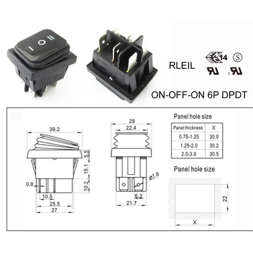 RLEIL RL2(P) Waterproof IP65 ON/OFF/ON Boat Car Rocker Switch 10A 250V
