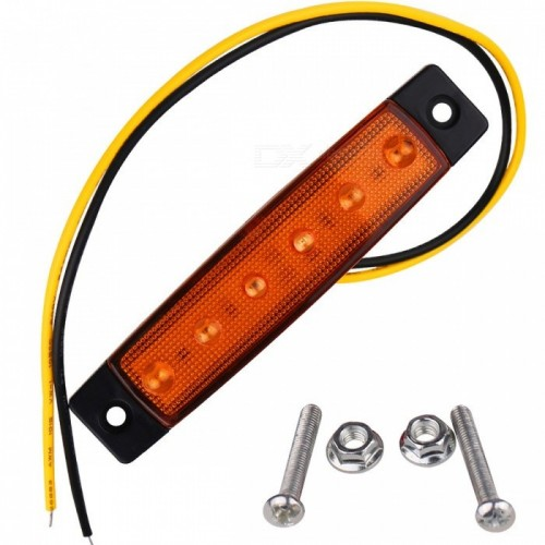 YWXLight 3W 24V 6-LED Orange Light Side Lamps for Truck
