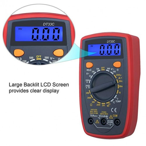 Digital Multimeter DT33C with Backlight Temperature Test