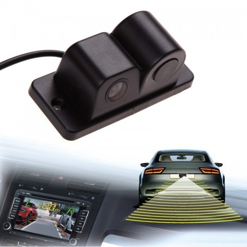 Universal 2 in 1 Car Parking Sensors Rear View Backup Camera High Clear Night Vision Reversing
