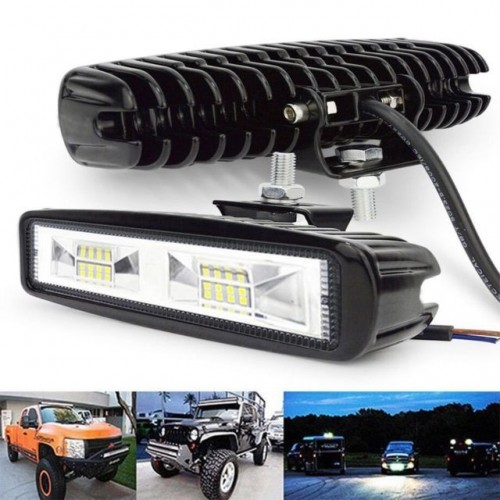 16 LED Work Light Flood Beam Bar Car SUV Offroad Driving Fog Lamps