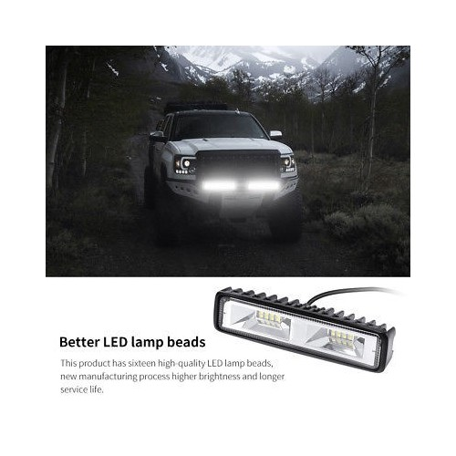 6 inch 48W 16 LED Work Light Flood Beam Bar Car SUV OffRoad Driving Fog Lamps