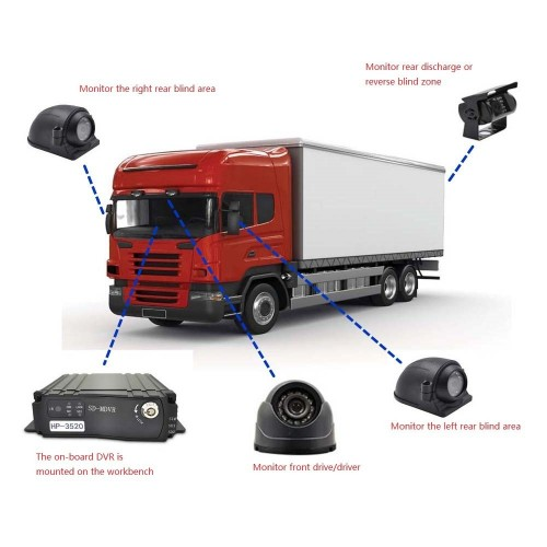 4Ch Car Hard Drive AHD Mobile DVR SD + 4 Video Cable + 4 AHD 1200TVL Camera Car Mobile DVR System