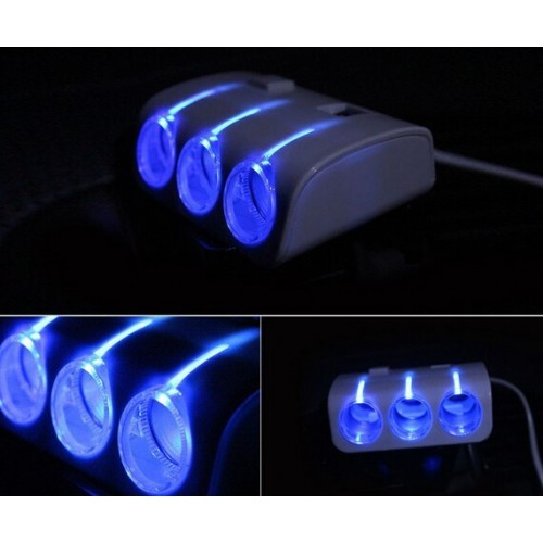 Auto Car 3 Way Multi Socket Cigarette Lighter USB Plug Adapter
