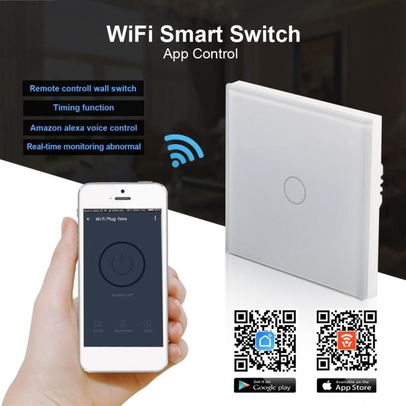Wifi Smart Wall Light Switch Touch Panel Remote Single FireWire