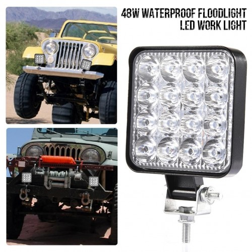 48W 30 Degree LED Flood Beam Lights Square Off-road Bulb Lamp Light Fog Lighting Exterior For Jeep Cabin/Boat/SUV/Truck