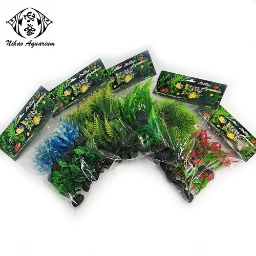 aquarartificial green plants water grass for aquarium fish tank