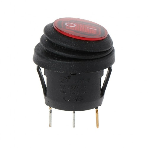 MINI ROCKER SWITCH 3P WITH LAMP ON-OFF 10A/250V IP65 RED
