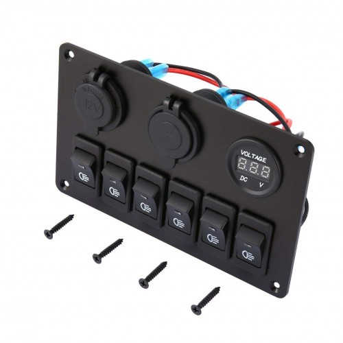 6 Gang LED Car Boat Switch Panel Dual USB Cigarette Lighter Socket Panel