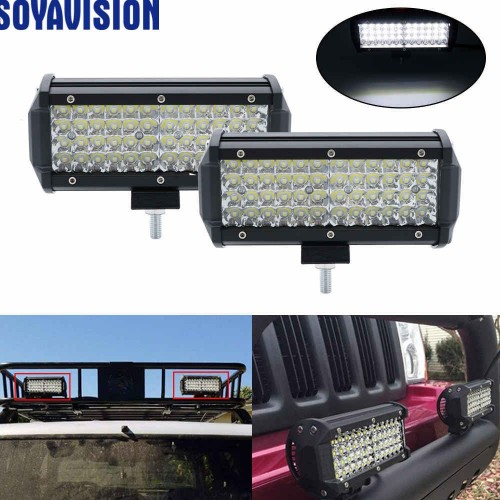 "7"" 144W LED Work Light 12V Led Beams Quad Rows Led Bar Car Off road 4x4 Flood Spot Light Accessories For Motorcycle SUV 4WD ATV"