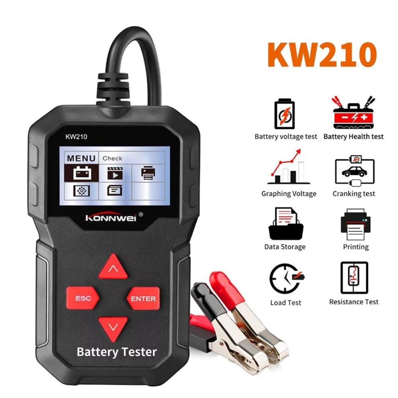 Car Battery Tester Auto Battery Analyzer 100 to 2000CCA Cranking Car Automatic Smart Battery-Tester KW210