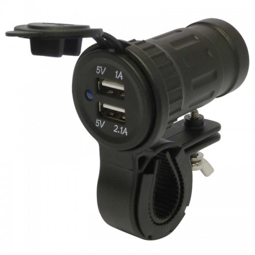 12V Waterproof Motorcycle Car Cigarette Lighter Dual USB Charger Blue LED Light Plug Socket Charger Adapter