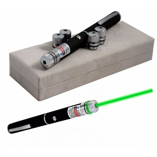 Professional Green Light LED Laser Pointer (2pcs AA Batteries) Black
