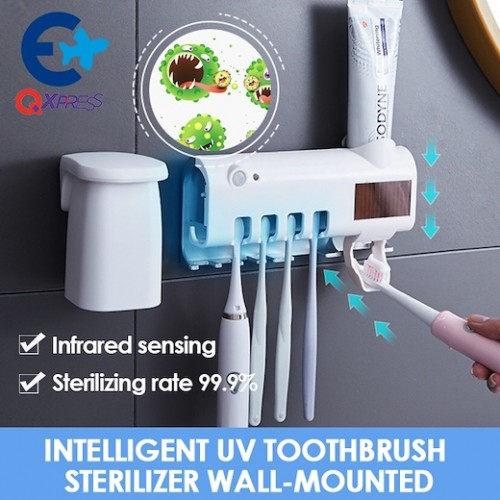 Ultraviolet Sterilization Multifunction Solar Electric Toothbrush Sterilizer Auto Toothpaste Dispenser