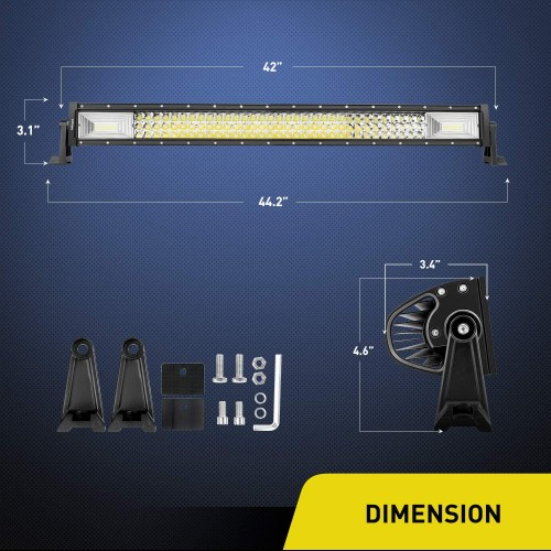 ΑΔΙΑΒΡΟΧΟΣ LED LIGHT BAR 648W 12 - 24 V 42inch 3-Row