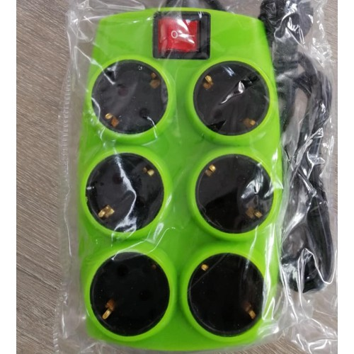 SOUKO GREEN MULTIPLE SOCKET 6 POSITIONS WITH SWITCH
