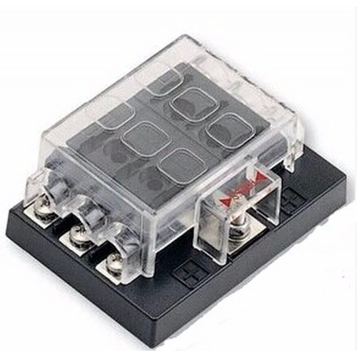 6 Way Blade Fuse Box with LED Indicator Fuse Block for Car Boat Marine Caravan 12V 24V