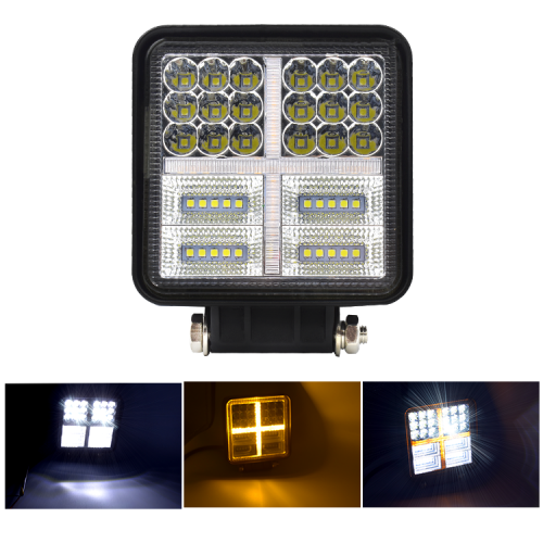 77w car led headlight yellow and white color square led work light for truck SUV offroad 4X4