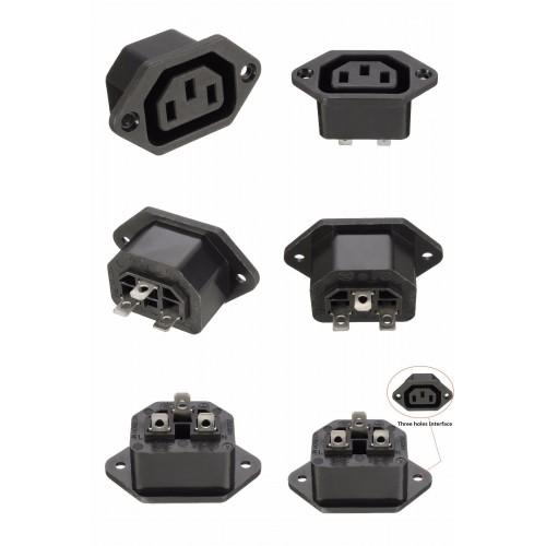 3 Pin IEC C14 Panel Mount AC Power Plug Female Socket Inlet Connector