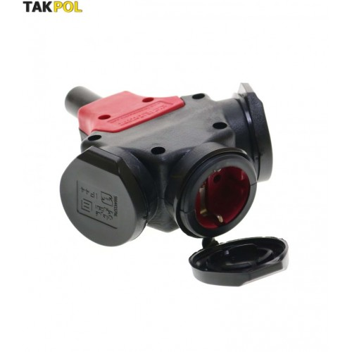 3 outlet electrical portable rubber connector