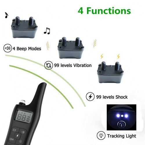 Adjustable Dog Training Collar Waterproof 4 Modes Rechargeable Remote Control Pet with LCD Display Shock