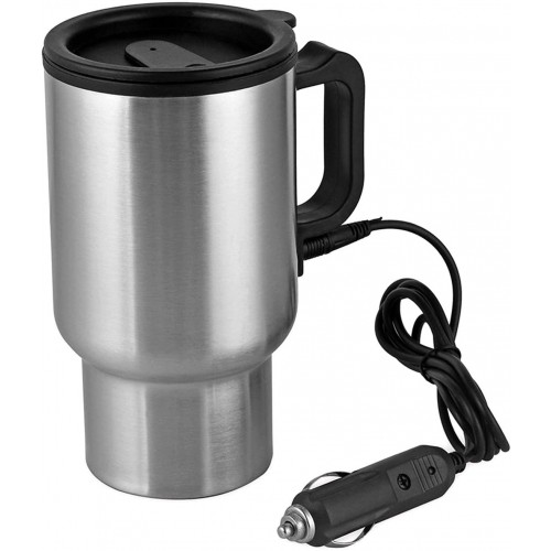 12V 450ml Electric In‑car Stainless Steel Travel Heating Cup Coffee Tea Car Cup Mug Silver