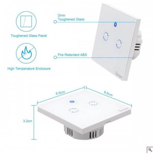 Double Gangs Smart Wall Touch Switch with RF
