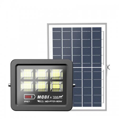 Solar Προβολέας 100W με Φωτοβολταϊκό Πάνελ, Τηλεκοντρόλ και Χρονοδιακόπτη
