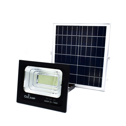 Solar Προβολέας 200W με Φωτοβολταϊκό Πάνελ, Τηλεκοντρόλ και Χρονοδιακόπτη
