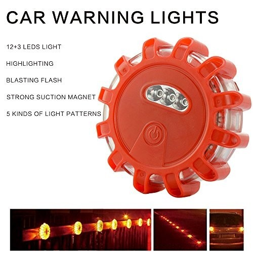 12+3 LED Bulbs Flashing Portable Warning Light